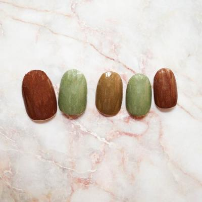 PINK Nova Nail LOR209 Complimentary 3 Different Colors Brown Green Nails
